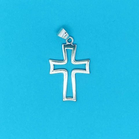 Genuine 925 Sterling Silver Cut Out Jesus Christ Cross Pendant